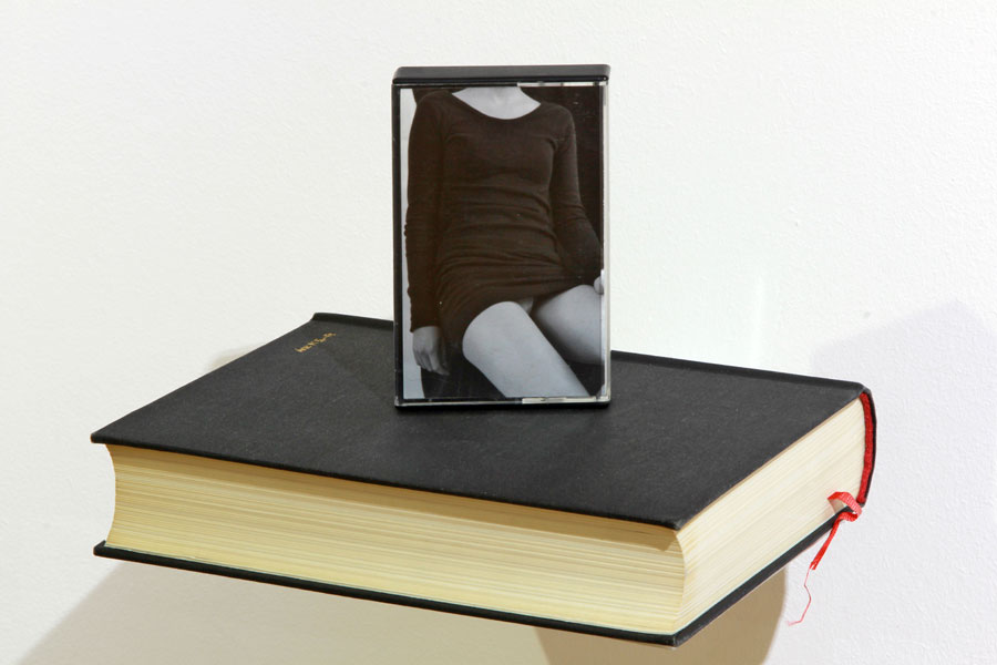 Lady on Hegel / Book, cassette, black and white photo, metal support, light / Dimensions: 30 x 20 x 15 cm 2012, Budapest, Trapéz Gallery
