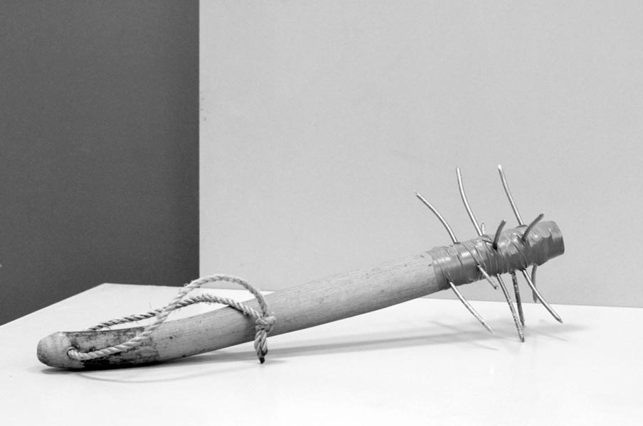 The leg of a Thonet chair / Painted wood, rope, pins / Dimensions: 20 x 40 x 20 cm 2013, Budapest