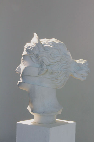 Test Strip / Plaster sculpture of a female head, cut in five sections / Dimensions: 25 x 25 x 45 cm 2012, Budapest, Trapéz Gallery