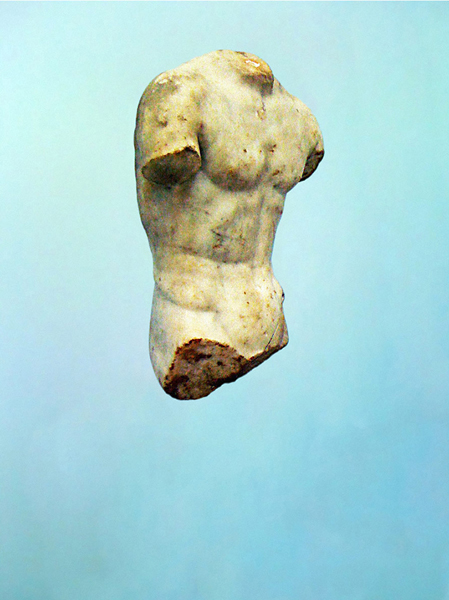 Greek Sculpture with Blue Background